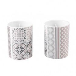 2 bougies en pot porcelaine