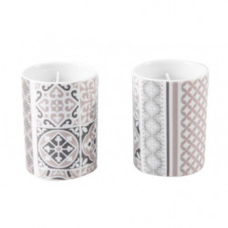 2 bougies en pot porcelaine